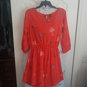 Red Feather Print Dress By O'Niell